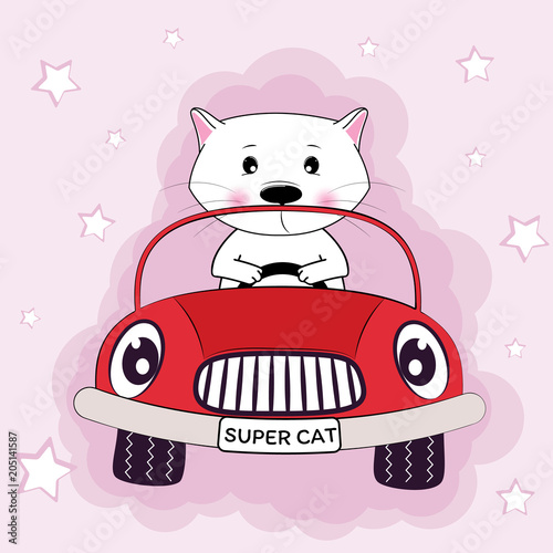 Fotobehang Auto Cute cat driving a car and pink background.
