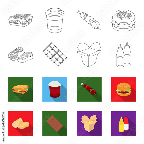Poster Chocolate, noodles, nuggets, sauce.Fast food set collection icons in outline,flat style vector symbol stock illustration web.