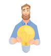 man gives lamp