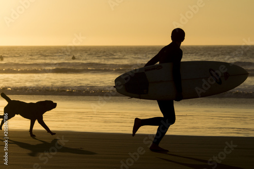 Plexiglas Strand Running with the dog