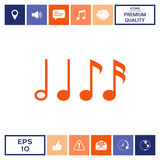 Symbol of Music, notes. Sixteenth note, Eighth note, quarter note and half note  - 205148951