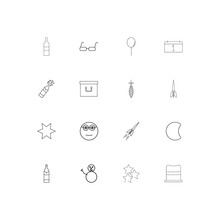 Holidays Linear Thin Icons Set Outlined Simple  Icons Sticker
