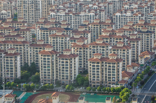 Aerial view of houses and building