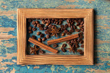 wooden frame with fresh roasted coffee beans