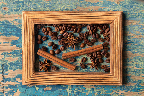 Poster wooden frame with fresh roasted coffee beans