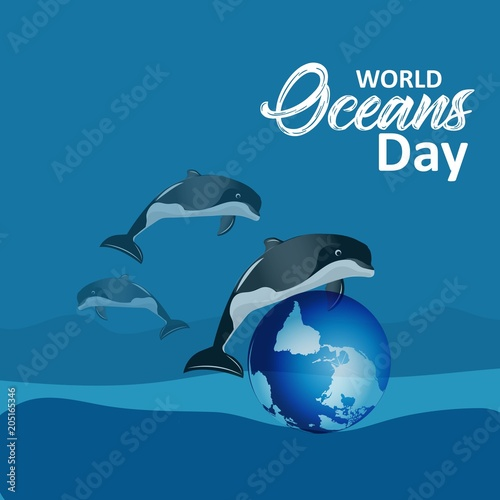 Fototapeta creative abstract, banner or poster for World Oceans Day with nice design illustration.