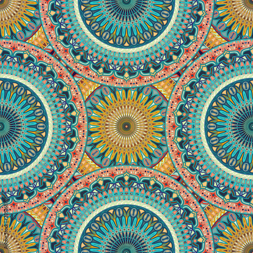 Seamless pattern mandala ornament. Vintage decorative elements. Hand drawn oriental background.