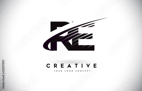 RE R E Letter Logo Design with Swoosh and Black Lines.