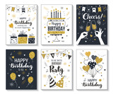 Happy birthday greeting card and party invitation templates, vector illustration, hand drawn style, black and gold colors. - 205183973