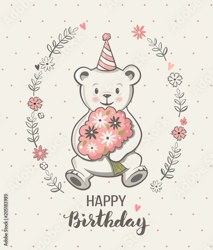 Cute Little Bear Cartoon Vector Illustration Happy Birthday Greeting Card Posters For Baby Room Kids And T Shirts Wear Hand Drawn Nursery