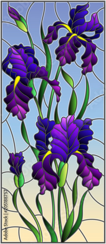illustration-in-stained-glass-style-with-purple-bouquet-of-irises-flowers-buds-and-leaves-on-sky-background