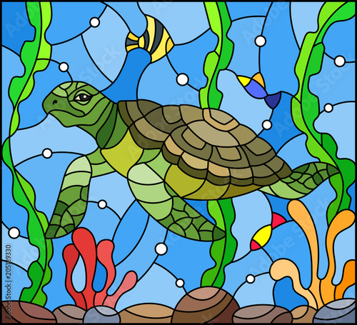 illustration-in-stained-glass-style-with-sea-turtle-on-the-seabed-background-with-algae-fish-and-stones