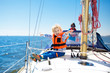 Quadro Kids sail on yacht in sea. Child sailing on boat.