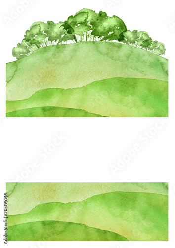 Fotobehang Lime groen Watercolor autumn,summer forest, silhouette of trees, bushes. Field. Country view. Postcard, logo, card. Drawing of green trees on a green grass on a white isolated background.