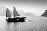 Junk boat in Halong bay, Vietnam - Black and white - 205196133