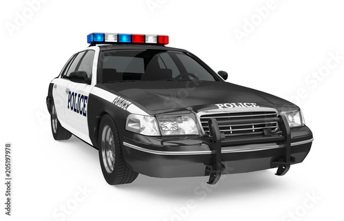 Wall mural Police Car Isolated