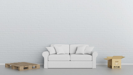 Möbel Lieferung Konzept mit Sofa und Umzugskartons