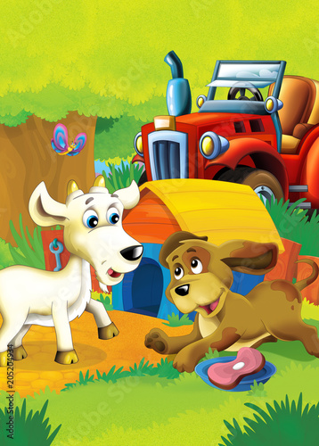 cartoon happy and funny farm scene with tractor - car for different tasks - illustration for children - 205204934