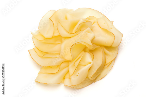 Fototapeta Cheese slices isolated on the white background.