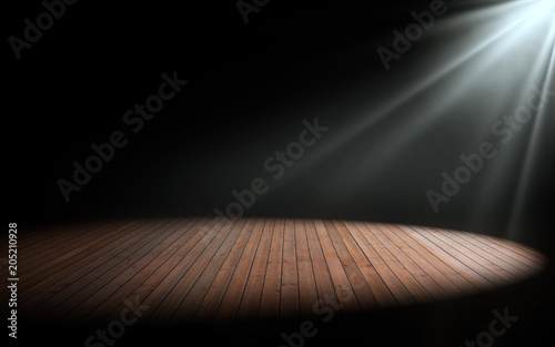 Leinwandbild Motiv Light on wooden floor in empty room. 3d rendering
