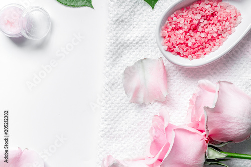 Plexiglas Spa organic cosmetic with rose oil on white background top view