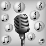 microphone with music note . vector illustration - 205214345