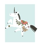 Hand drawn vector abstract graphic creative cartoon illustrations artwork with simple unicorn astronaut character with old school tattoo isolated on white background - 205214707