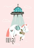 Hand drawn vector abstract graphic creative cartoon illustrations card design template with simple unicorn astronaut character and alien spaceship isolated on pink pastel background - 205214918