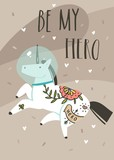Hand drawn vector abstract graphic creative cartoon illustrations card design template with simple unicorn astronaut character in helmet and Be My Hero calligraphy quote isolated on brown background - 205214933