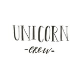 Hand drawn vector abstract graphic creative modern handwritten calligraphy lettering phase Unicorn Crew isolated on white background - 205215374