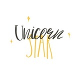 Hand drawn vector abstract graphic creative modern handwritten calligraphy lettering phase Unicorn Star isolated on white background - 205215388