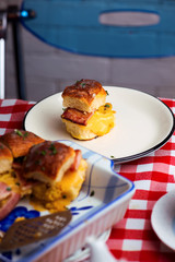 Breakfast Sliders buns with bacon