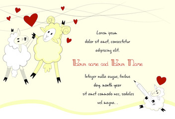 Love Invitation with Sheep Ram and Lamb