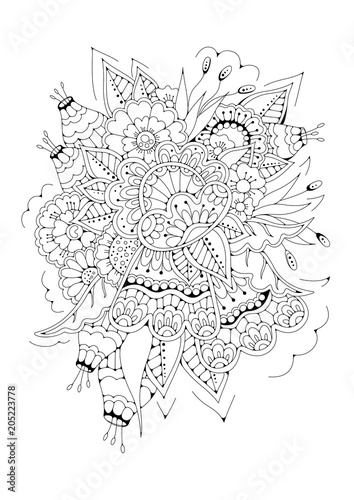 Hand drawn backdrop. Coloring book, page for adult and older children. Black and white abstract floral pattern. Vector illustration. Design for meditation.