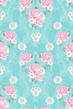Seamless pattern with paisley and roses in Victorian style