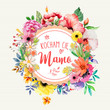 """Dzień Matki 26 Maja - kartka z napisem """"Kocham Cię Mamo"""" oraz motywem kwiatowym"""