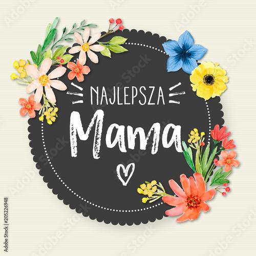 Fototapeta Dzień Matki 26 Maja - kartka, kwiaty oraz napis