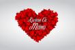 """Dzień Matki 26 Maja - duże serce złożone z małych czerwonych serduszek z napisem """"Kocham Cię Mamo"""""""