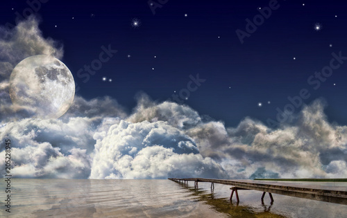Fotobehang Pier pier in large lake under full moon