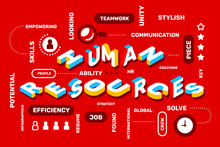 Human Resources Concept On Red Color   Icon Keyword  Creative Horizontal  3d Word Lettering Typography Sticker