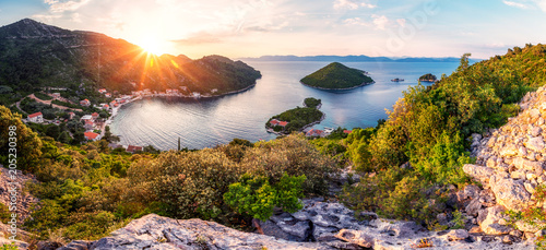 Wall mural Panoramic view and sunset image of Prozurska luka at island Mljet in Croatia