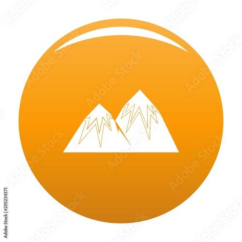 Snow peak icon. Simple illustration of snow peak vector icon for any design orange
