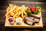 Grilled beefsteak with french fries and vegetables - 205241771