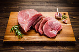 Raw pork on cutting board - 205242583