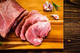 Raw pork on cutting board - 205242720