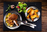 Grilled beefsteak with french fries - 205242974