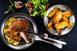 Grilled beefsteak with french fries - 205242993