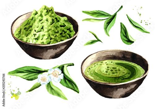 Ekologiczny zestaw zielonej herbaty Matcha. Dłoń akwarela ilustracja, na białym tle