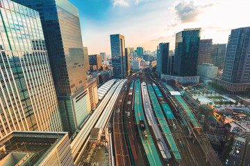 Aerial view of Tokyo Station at sunset