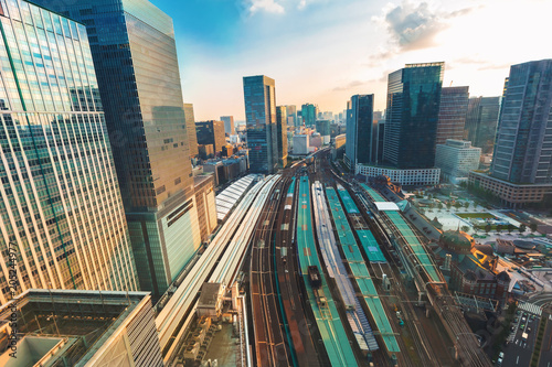 Poster Aerial view of Tokyo Station at sunset